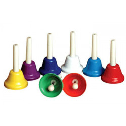 Set of 8 plastic bells, w/hand