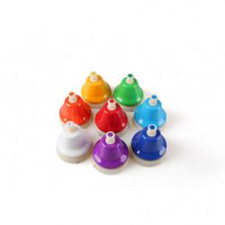 Set of 8 plastic bells, button